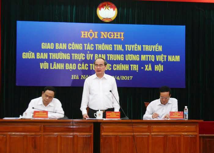 Chủ tịch Ủy ban TƯ Tổ quốc Việt Nam Nguyễn Thiện Nhân.