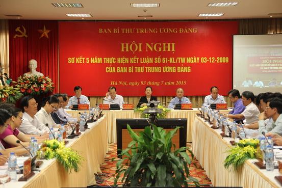 Hội nghị Sơ kết 5 năm thực hiện Kết luận số 61-KL/TW ngày 03-12-2009 của Ban Bí thư T.Ư Đảng